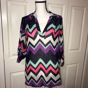 Wishful Park 3/4 sleeve chevron blouse